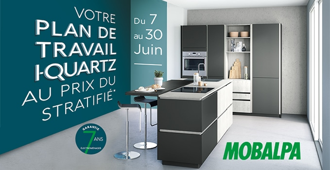 en juin le plan de travail i quartz au prix du stratifi. Black Bedroom Furniture Sets. Home Design Ideas